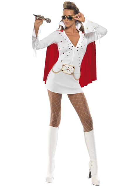 Strój Elvis Viva Las Vegas biały damski