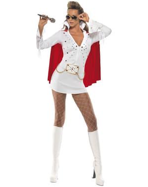 Elvis Viva las Vegas Kvinnlig vit maskeraddräkt Vuxen