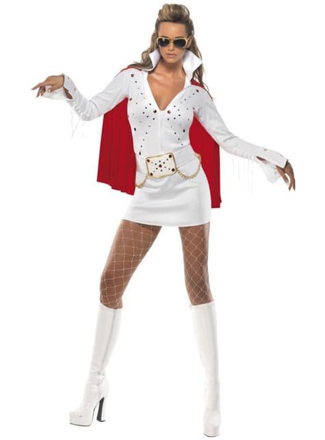 Lady Elvis Viva Las Vegas Kostyme Hvit
