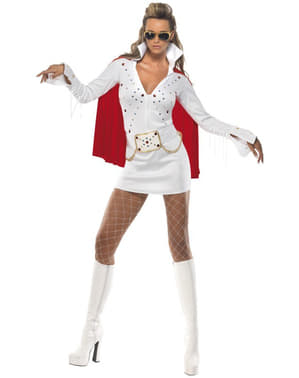 Elvis Viva Las Vegas hvidt kostume til kvinder