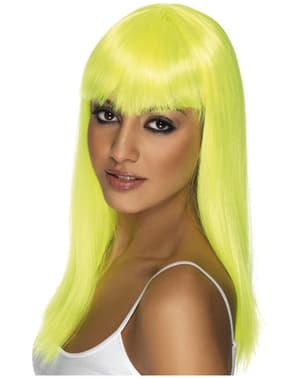 Perruque jaune fluo à frange