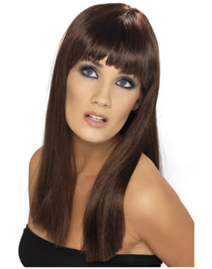 Perruque Glamourama marron avec une frange