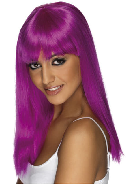 Peruca Glamour roxo néon com franja