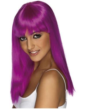 Neon paarse pruik met franje