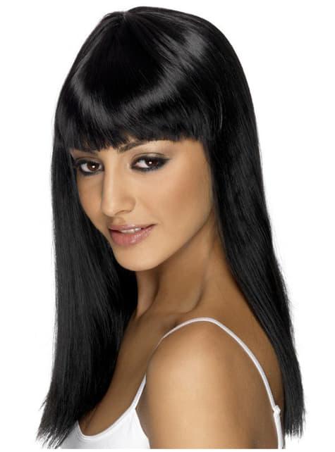 Peluca Glamourama negra con flequillo