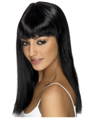 Glamourama sort paryk med pandehår