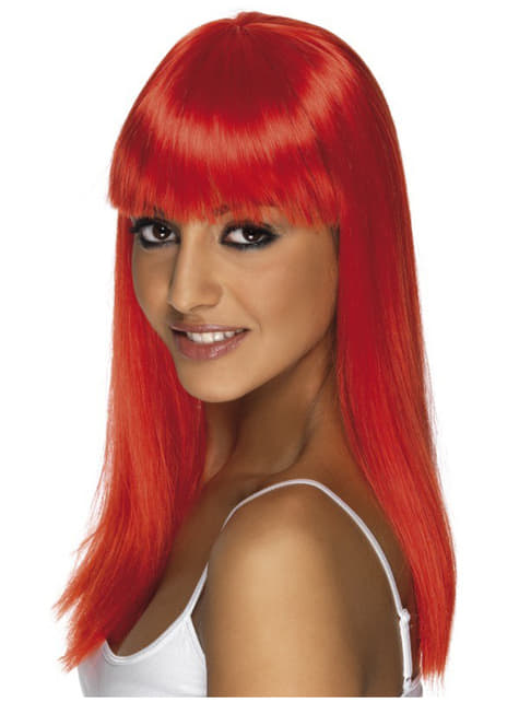 Peluca Glamourama rojo neón con flequillo