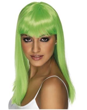 Perruque Glamourama verte fluo avec une frange
