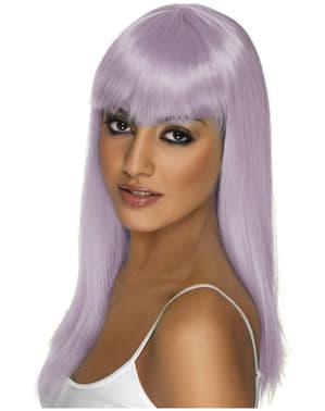 Peluca Glamourama lila con flequillo