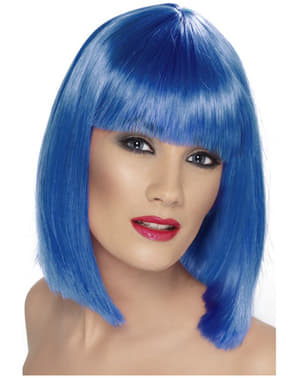 Peluca glamurosa azul con flequillo