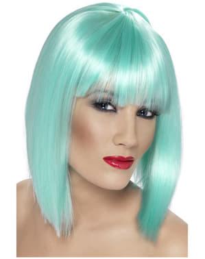 Neon Turquoise pruik met franje