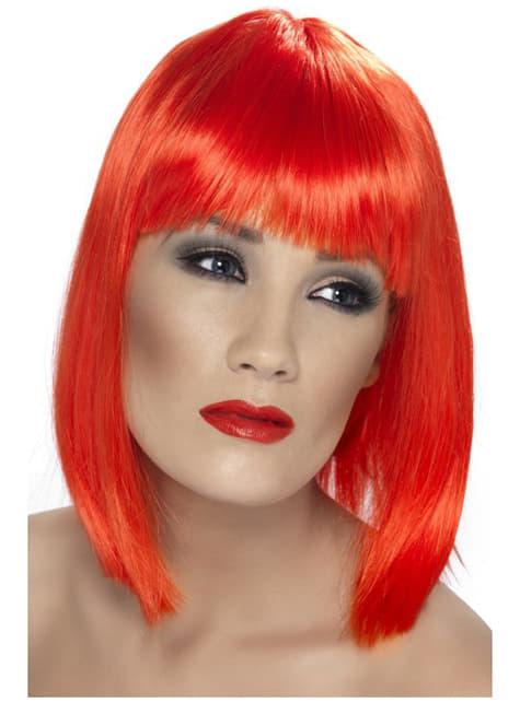 Peluca glamurosa rojo neón con flequillo