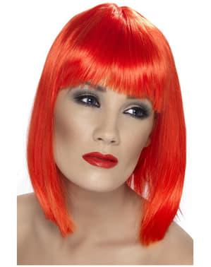 Perruque rouge fluo à frange