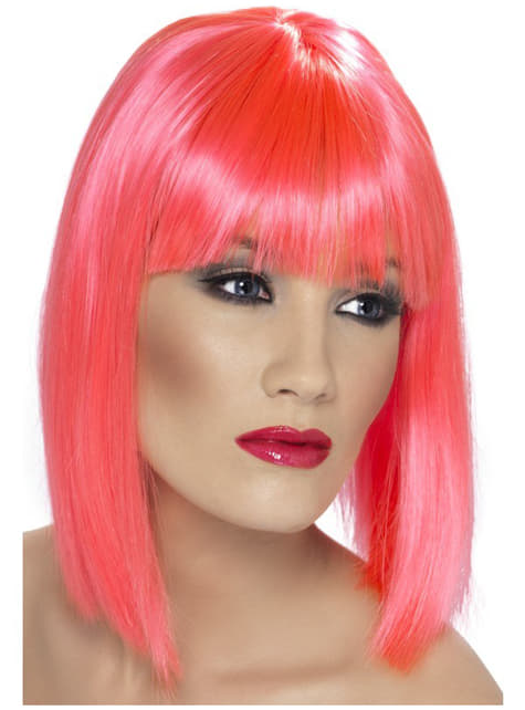 Peluca glamurosa rosa neón con flequillo