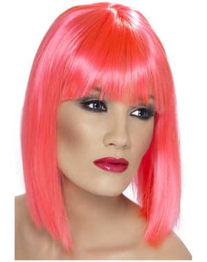 Peluca rosa neón con flequillo
