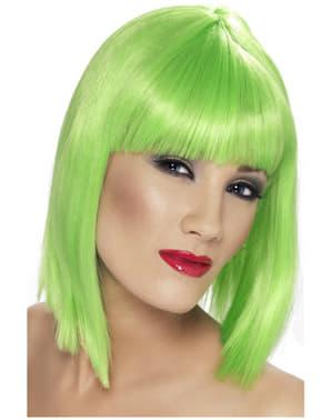 Glamourøs neongrøn paryk med pandehår