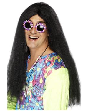 Perruque noire de hippie