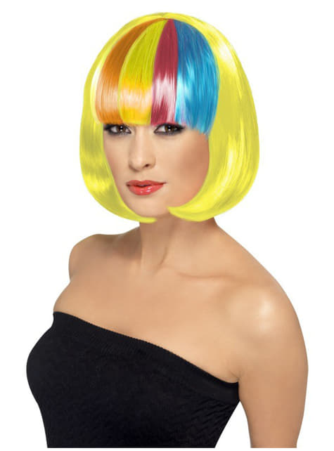 Yellow Partyrama Wig with Multicoloured Fringe