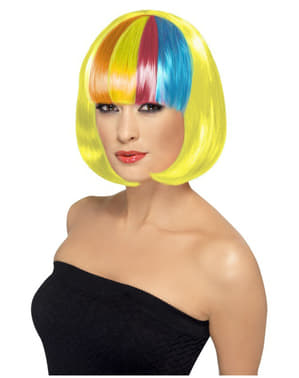 Parrucca Partyrama gialla con ciuffo multicolore
