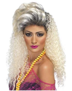 Jaren 80 stijl lange blonde krullende pruik voor vrouwen