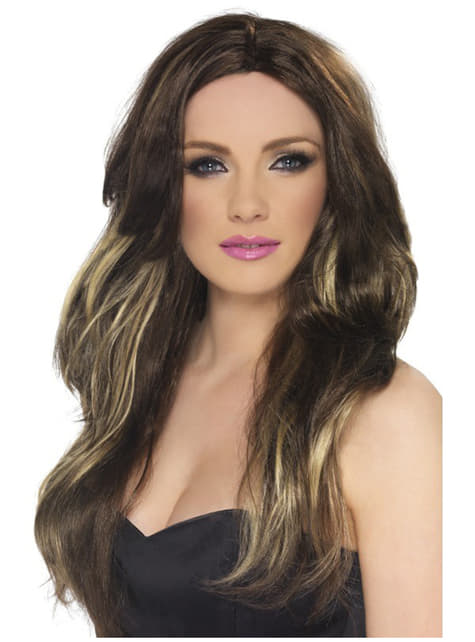 Brown Wig with Blonde Highlights for Women