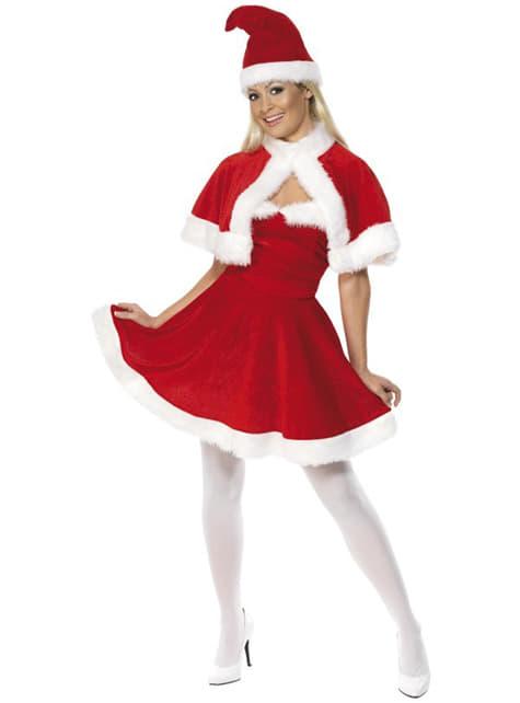 Disfraz de Miss Santa con capa deluxe