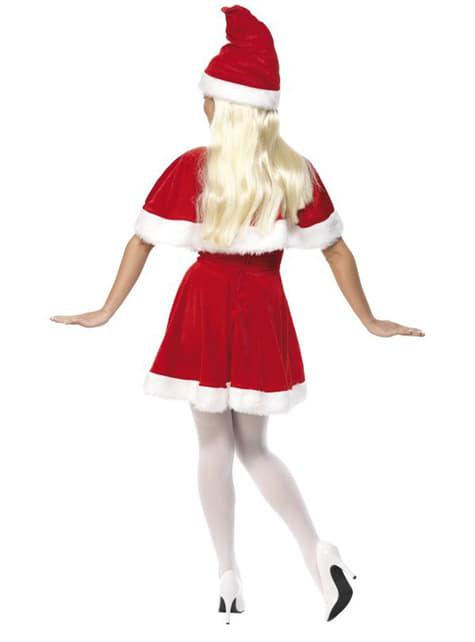 Deluxe Miss Santa kostuum met kape