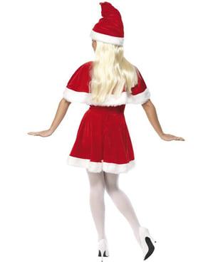 Costume Miss Santa Claus con mantello deluxe