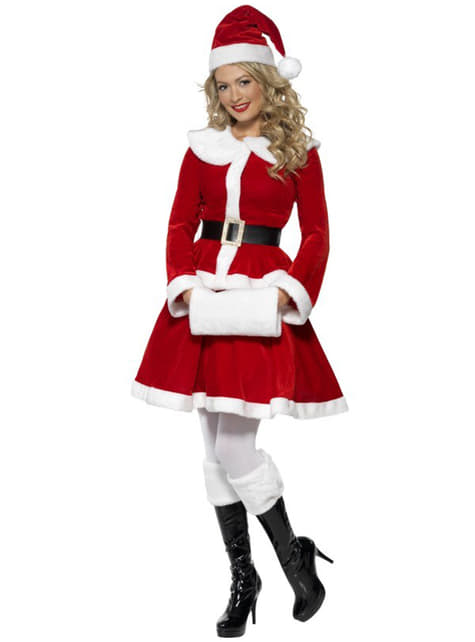 Girl Girls Miss Santa Claus Christmas Party Fancy Dress Costume Various Sizes