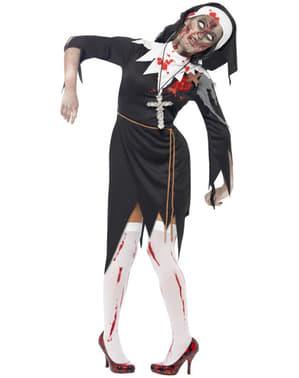 Déguisement de nonne zombie XL