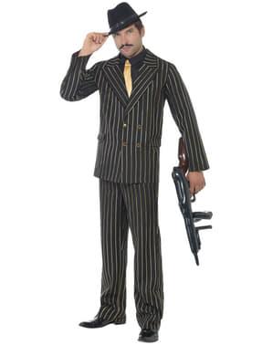 Fato de gangster com risca diplomática dourada