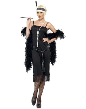 Modische Frau der 20er Schwarz Kostüm