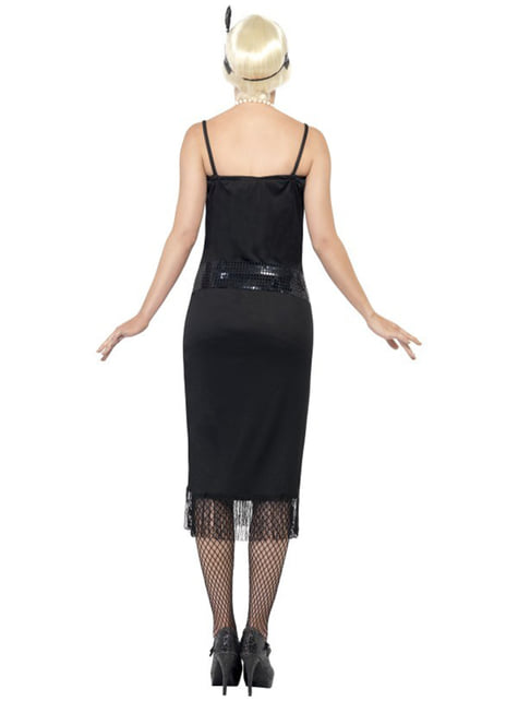 Disfraz de joven a la moda de los años 20 negro - mujer