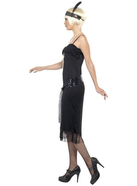 Disfraz de joven a la moda de los años 20 negro - original