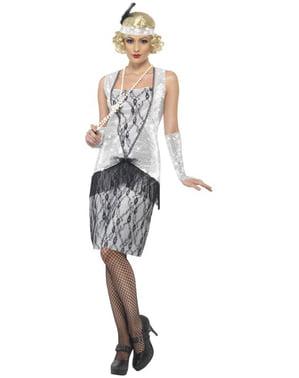 Kostium modna dziewczyna z lat 20 srebrny