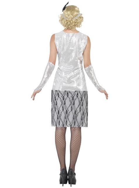 Disfraz de años 20 plateado - mujer