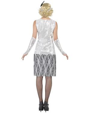 Modisches Mädchen Kostüm der 20er Silber