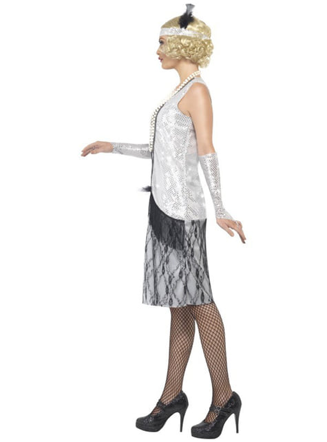 Zilverkleurig 20's kostuum voor vrouwen