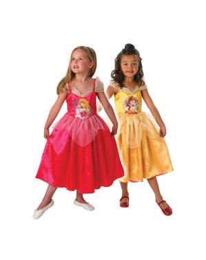 Costum Aurora și Bella reversibil pentru fată
