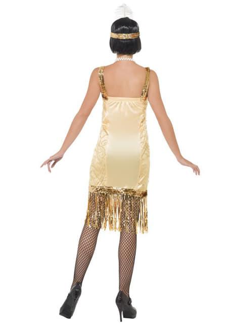 Disfraz de joven charlestón a la moda de los años 20 dorado - mujer