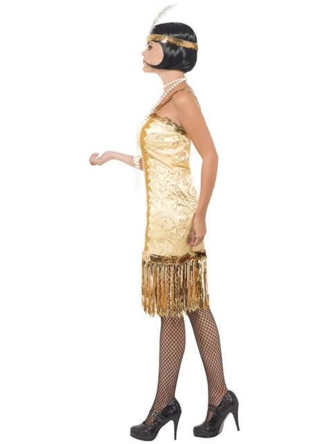 Disfraz de joven charlestón a la moda de los años 20 dorado - original