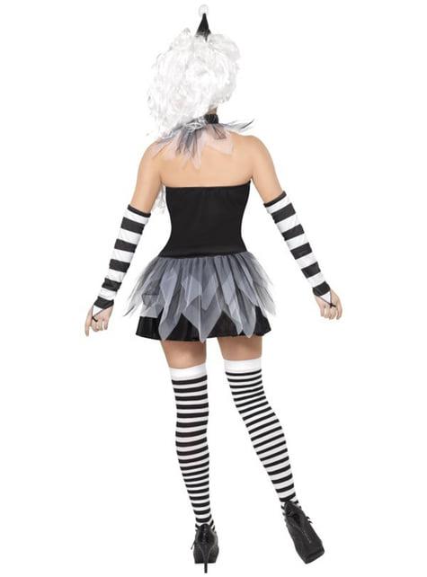 Disfraz de pierrot siniestro - mujer
