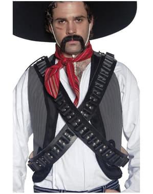 Cintura di pelle con pallottole da bandito del West