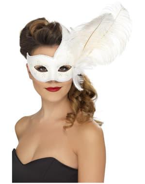 Máscara veneziana branca para mulher