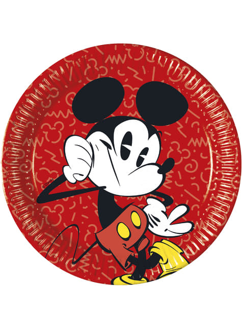 Conjunto de 8 pratos grandes Mickey Mouse