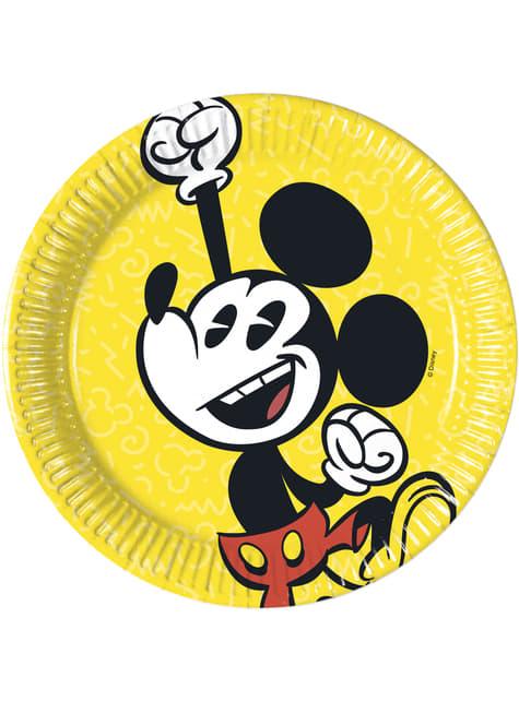 8 platos pequeños Mickey Mouse (20cm) - Mickey Comic