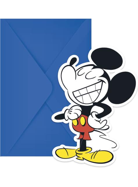 Conjunto de 6 convites Mickey Mouse