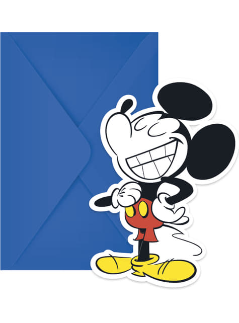 Set of 6 Mickey Mouse invitations