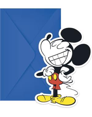 6 convites Mickey Mouse - Mickey Comic