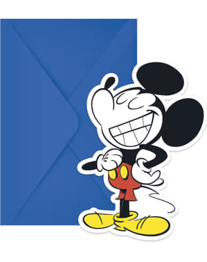 Sæt af 6 Mickey Mouse invitationer